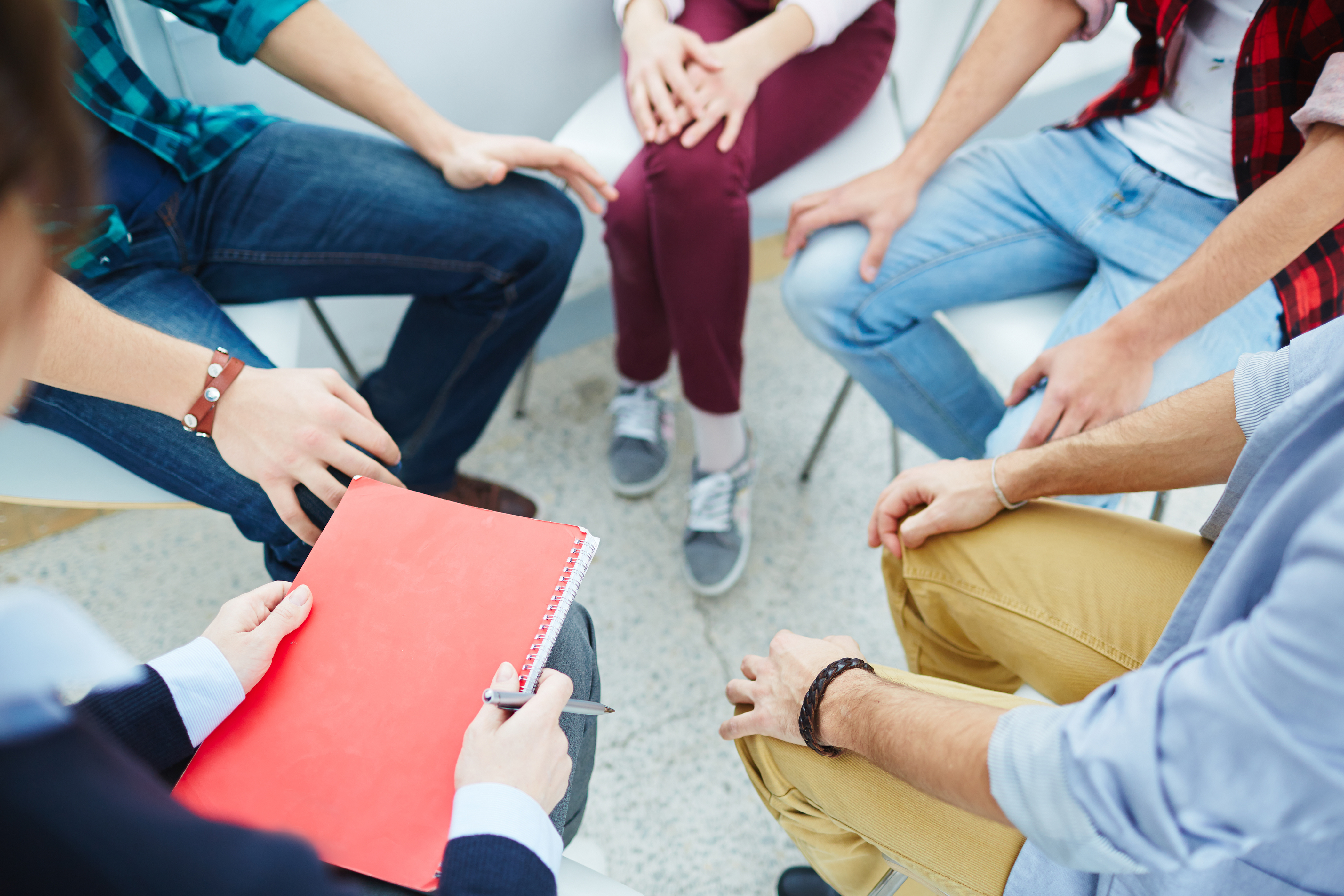 Group of people visiting course of psychological therapy