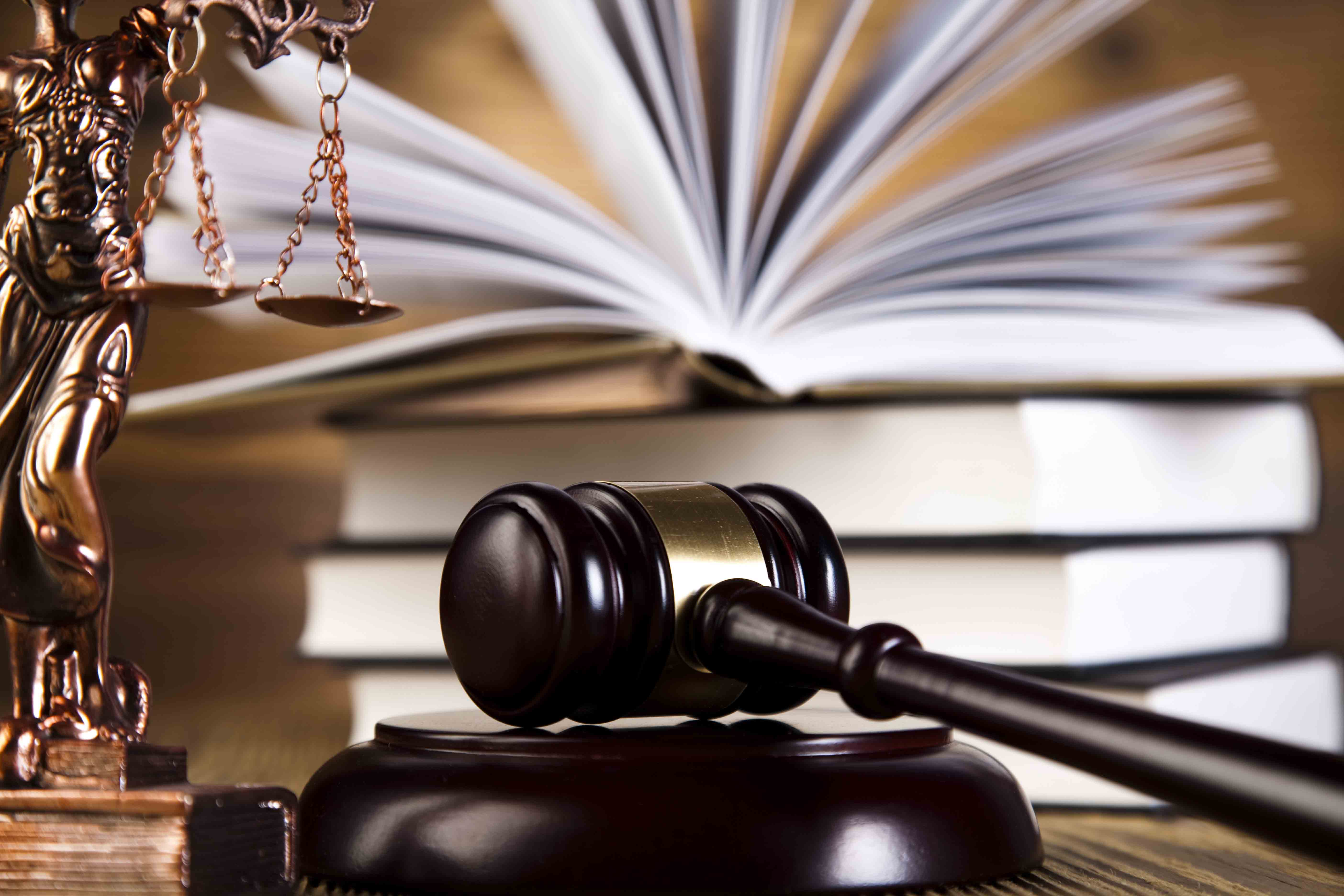 Mallet, legal code and scales of justice