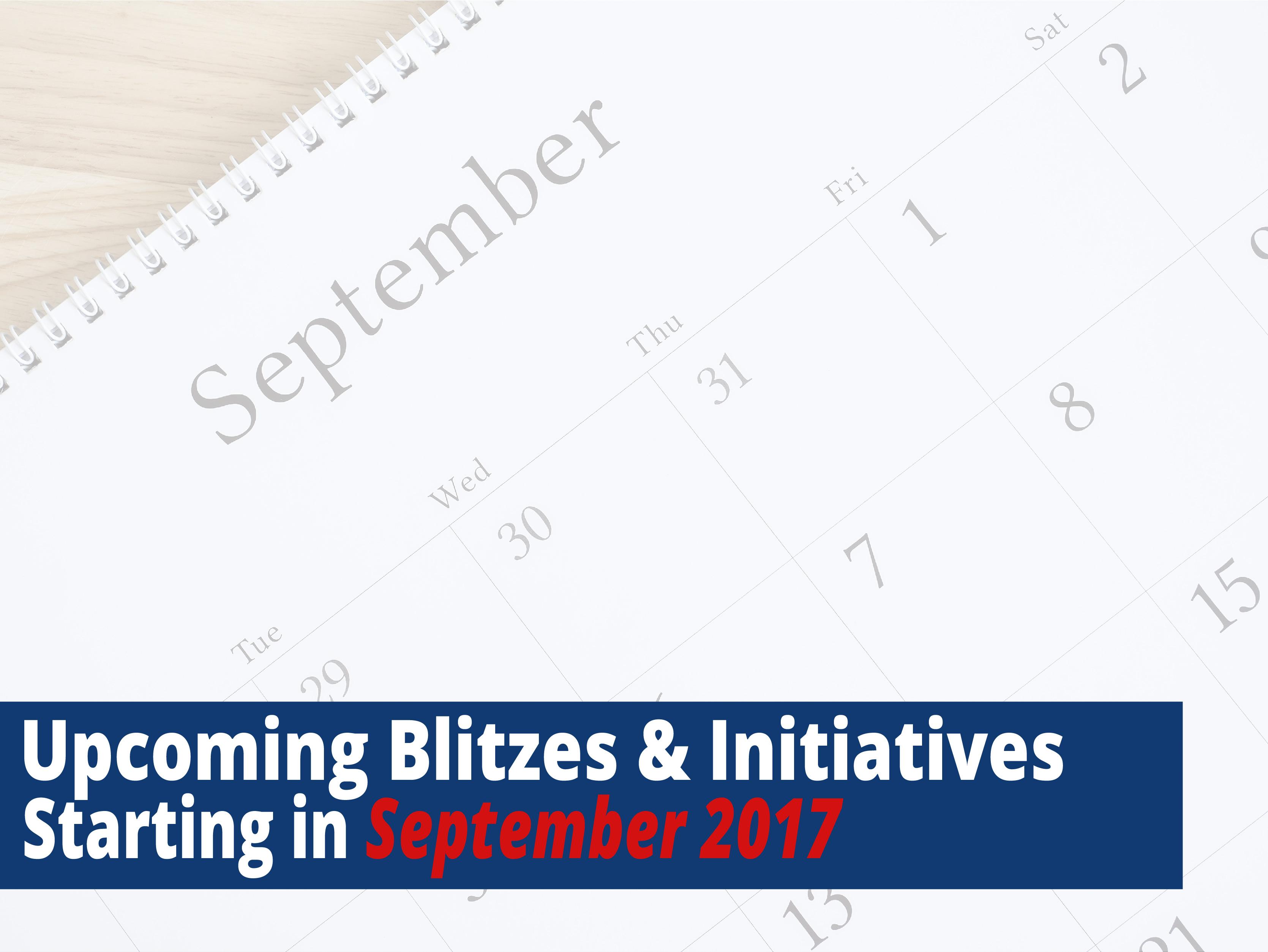 September upcoming blitzes
