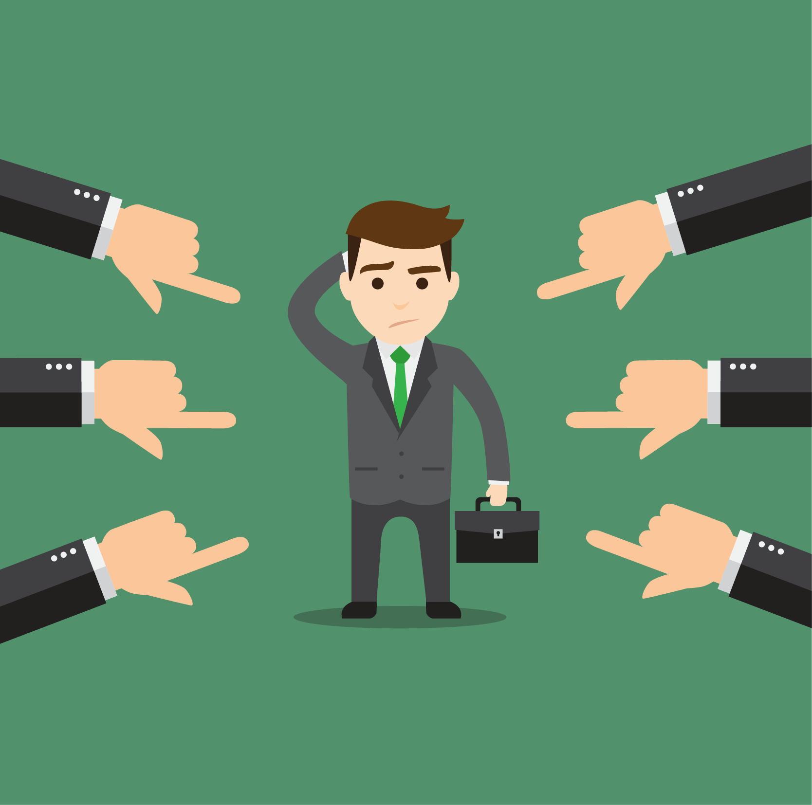 illustration of a business man looking confused and hands pointing fingers at him