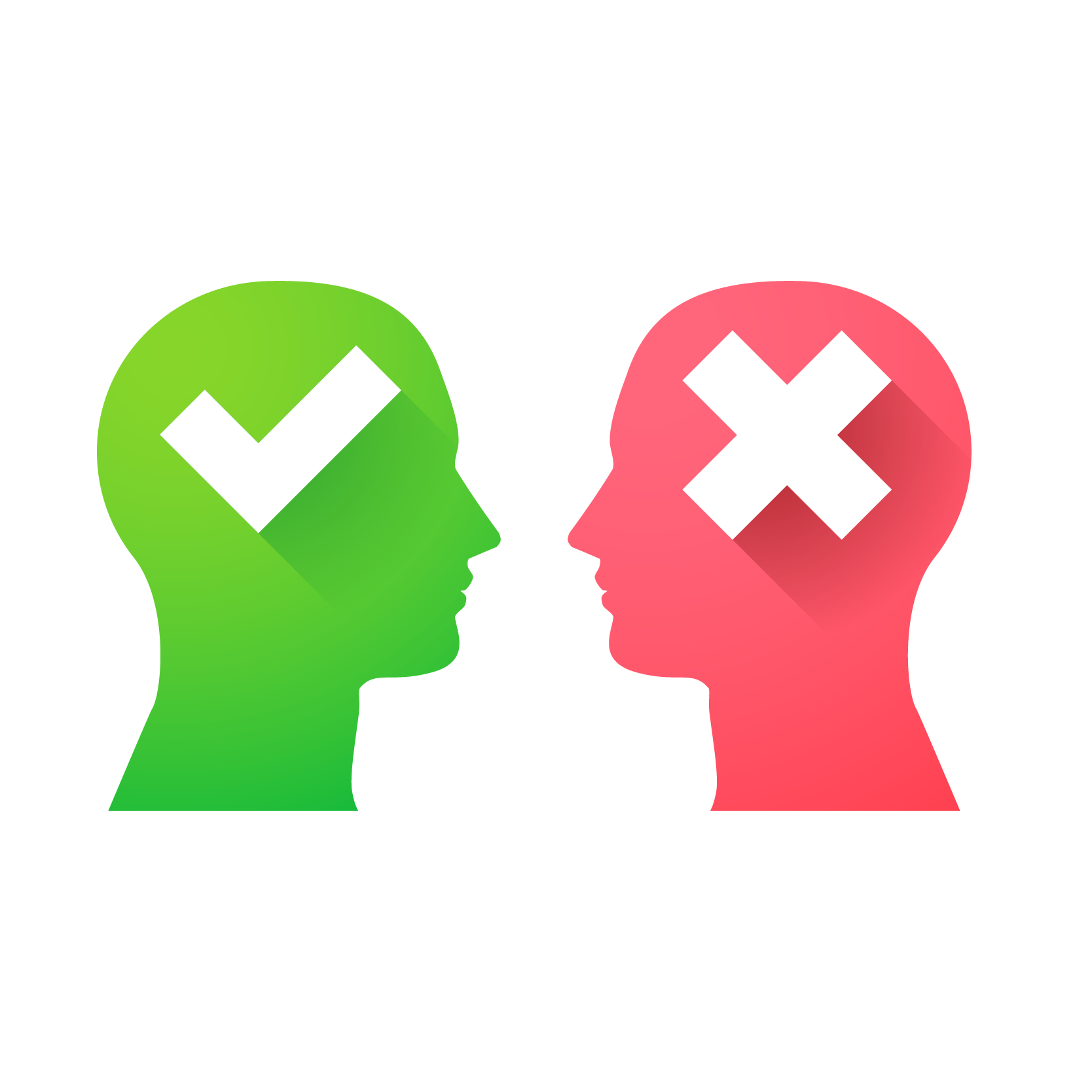 Illustration of two heads one is green with a checkmark and one is red with an x