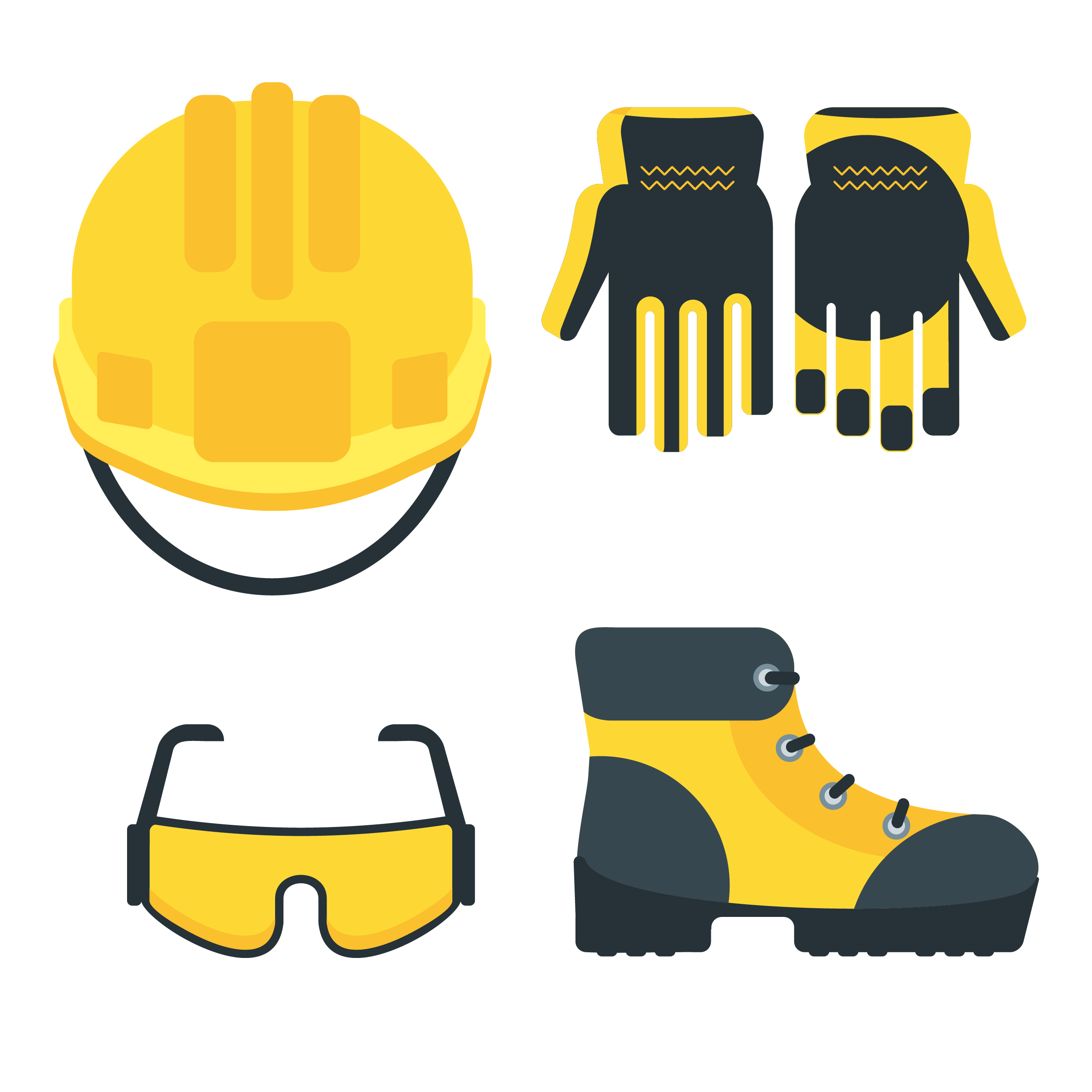 Illustration of a hard hat, gloves, safety glasses and safety shoes