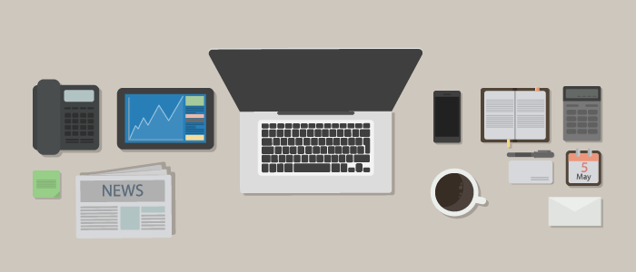 Illustration of a neat and tidy desk