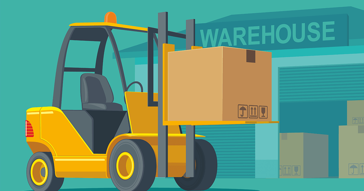 Illustration of a Lift Truck in front of a warehouse entrance