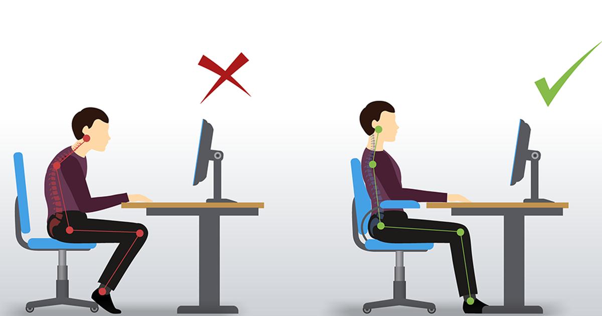 Illustration with poor workstation ergonomics compared to good workstation ergonomics