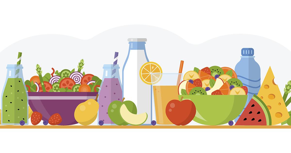 Illustration of bowl of salad, fruits, vegetables, juice and bottles of water