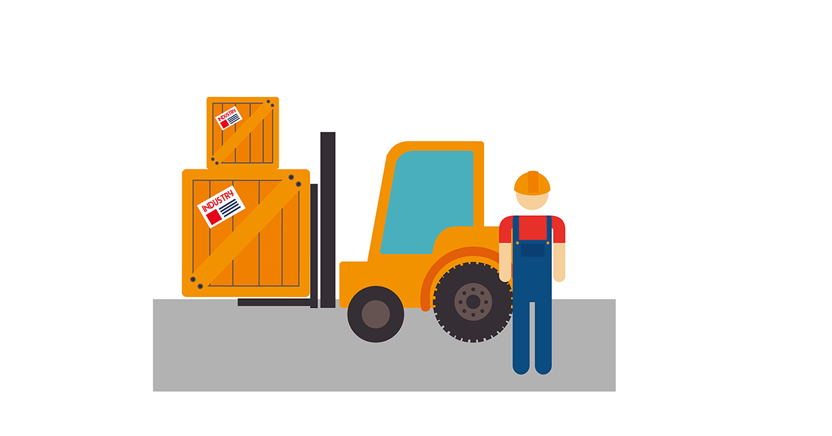 Illustartion of a fork truck with crates on the forks and worker in the foreground