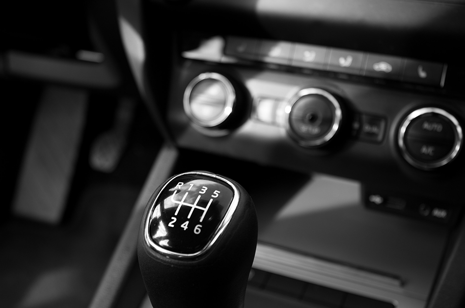 Car interior with view of gearshift