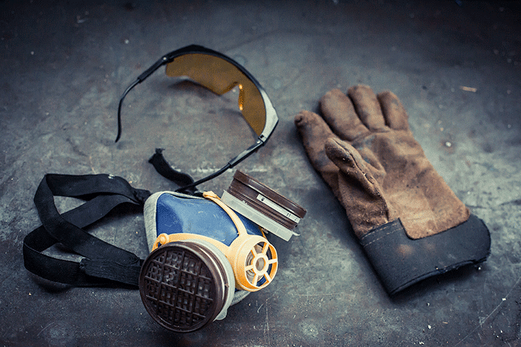 Personal protective equipment, glove, respirator and safety glasses
